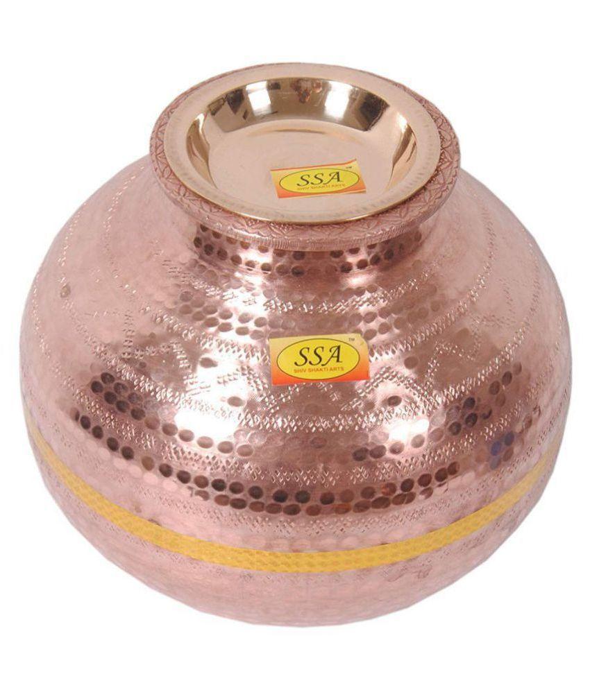 Shiv Shakti Arts Dispenser Health Pot Copper Water Container Set of 1 6500 mL