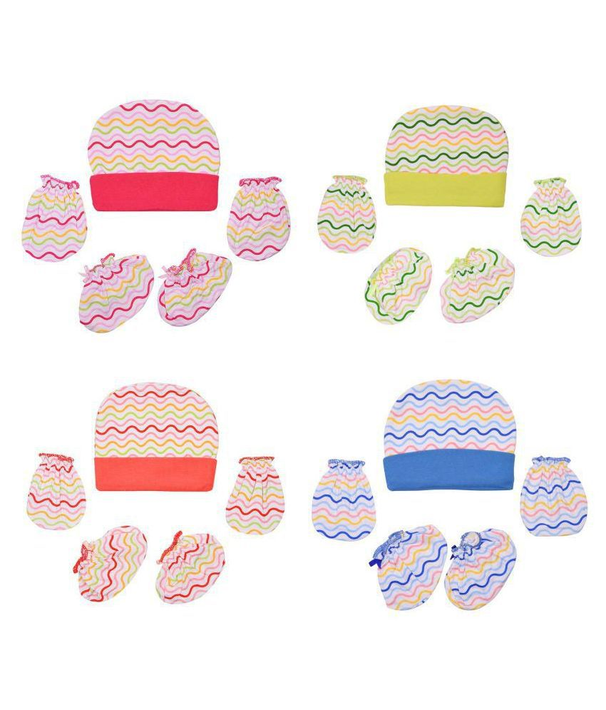 Gouravsumana Baby Boys and Baby Girl's Soft Cotton Cap ( Multicolour ; Pack Of 4 )