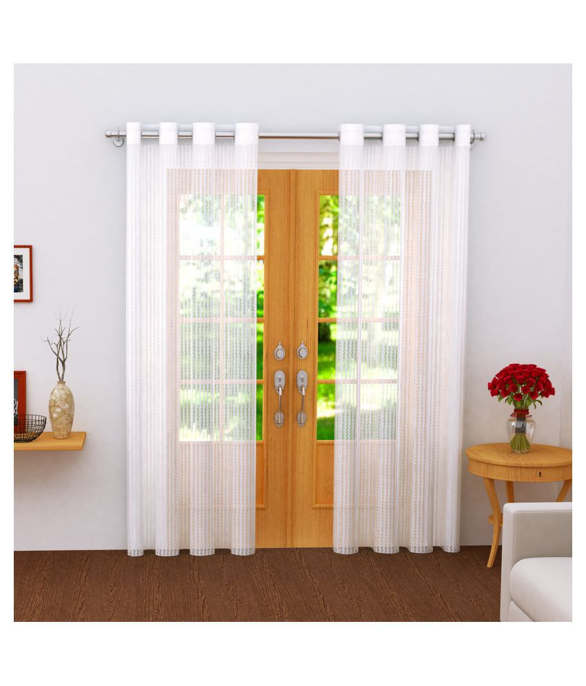Story@Home Set of 2 Door Transparent Eyelet Polyester Curtains White