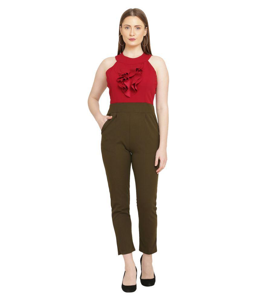 FUNKIEZ FASHION Red Poly Crepe Jumpsuit