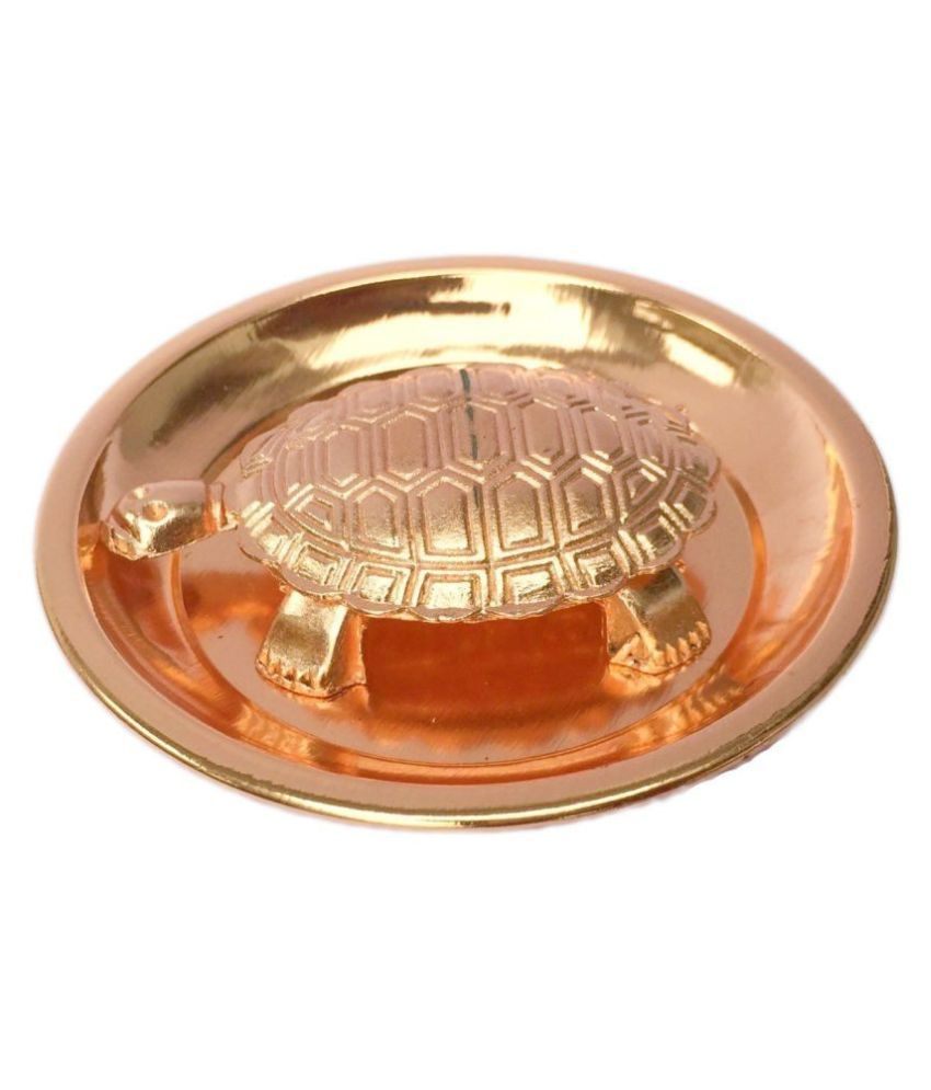 BHAUNE RETAILS Copper Fengshui Tortoise/Turtle (For Good Luck) With Copper Plate