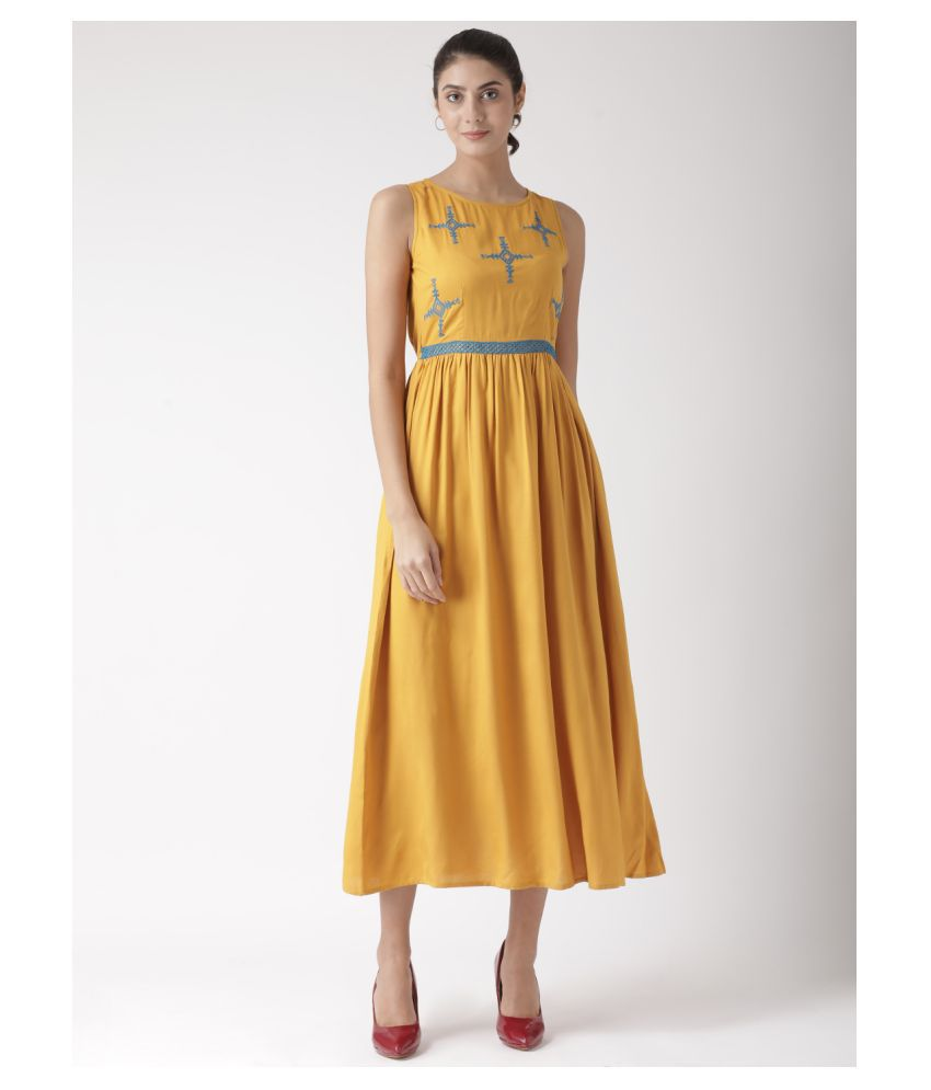 The Vanca Viscose Yellow Fit And Flare Dress