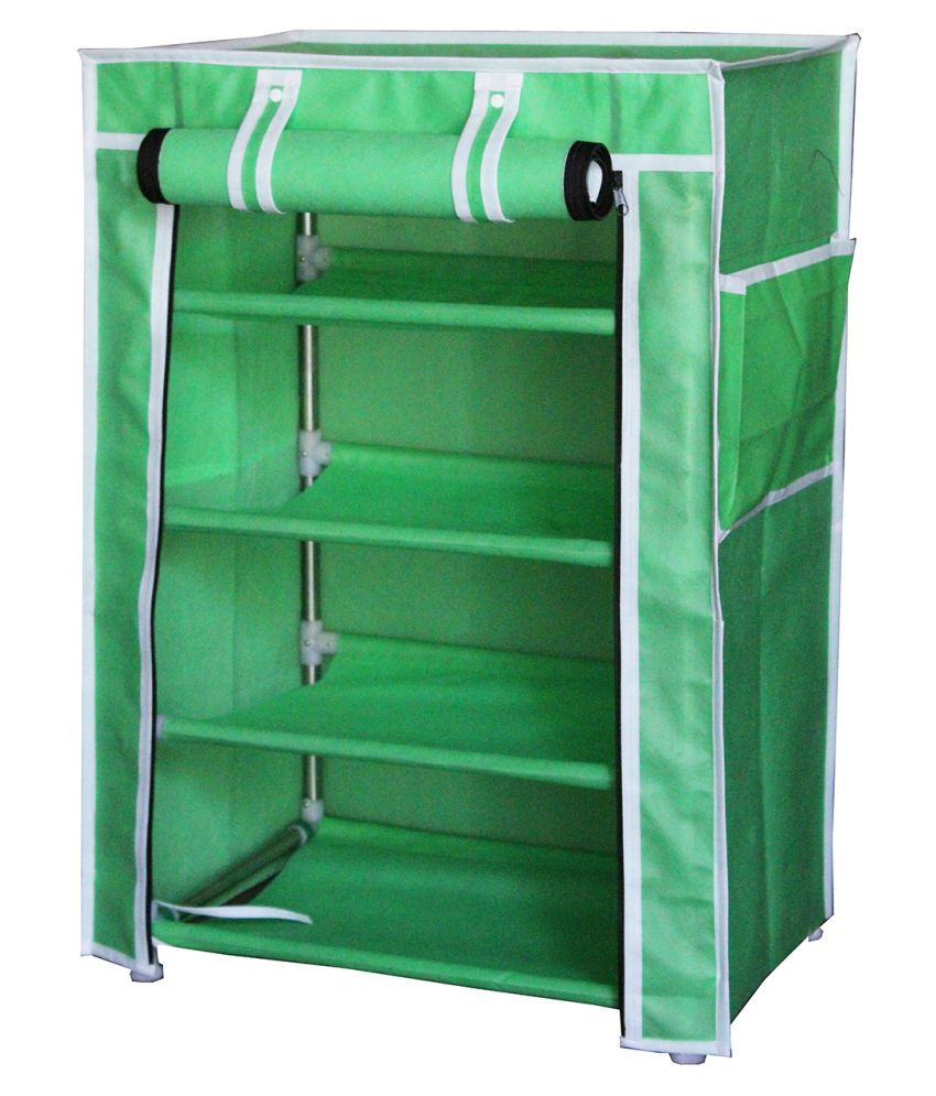 FABURA Metal Collapsible Shoe Stand  Green, 4 Shelves