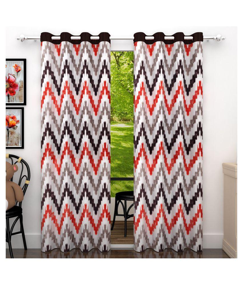 Story@Home Set of 2 Door Blackout Room Darkening Eyelet Polyester Curtains Brown