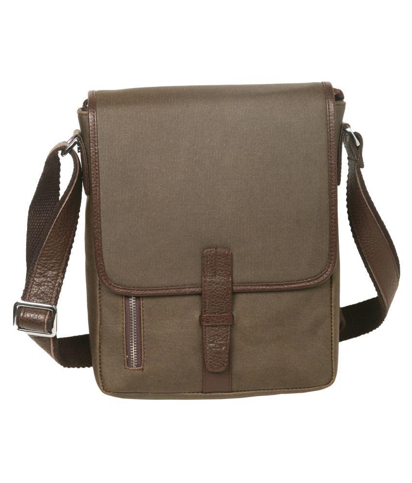 WalletsNBags messenger sling bag Green Canvas Casual Messenger Bag