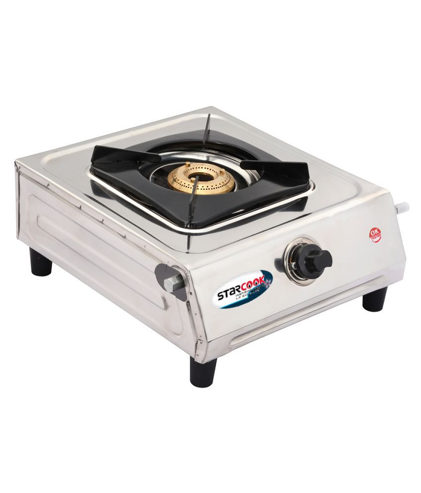 Starcook Manual Gas Stove 1 Burner L.P Stainless Steel Butterfly Design Gas Stove Brass Burner