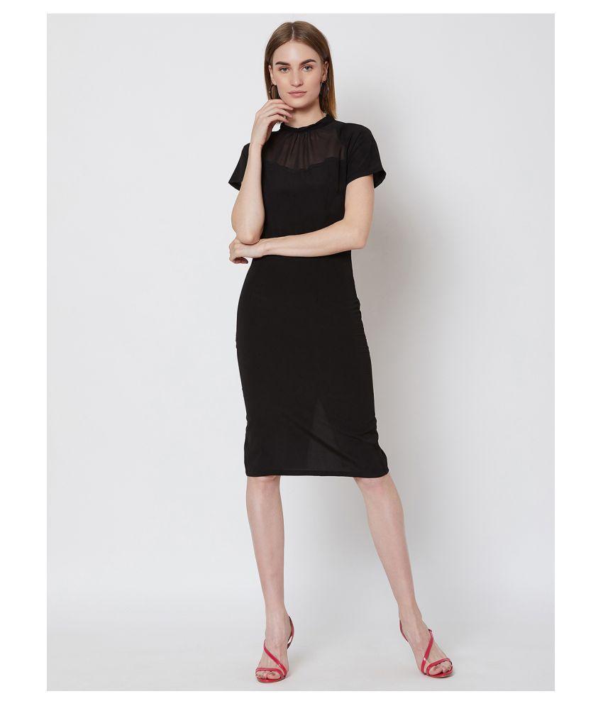 Nun Polyester Black Sheath Dress