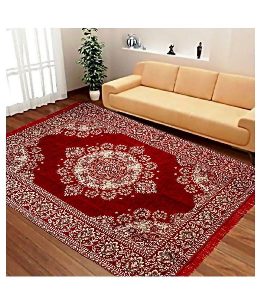 Tapis Maroon Velvet Carpet Floral 5x7 Ft Buy Tapis Maroon Velvet
