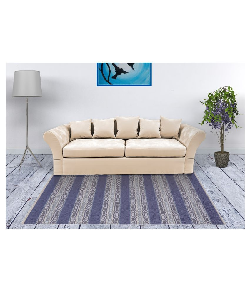 UB Home and Decor Blue Cotton Carpet Others 3x5 Ft