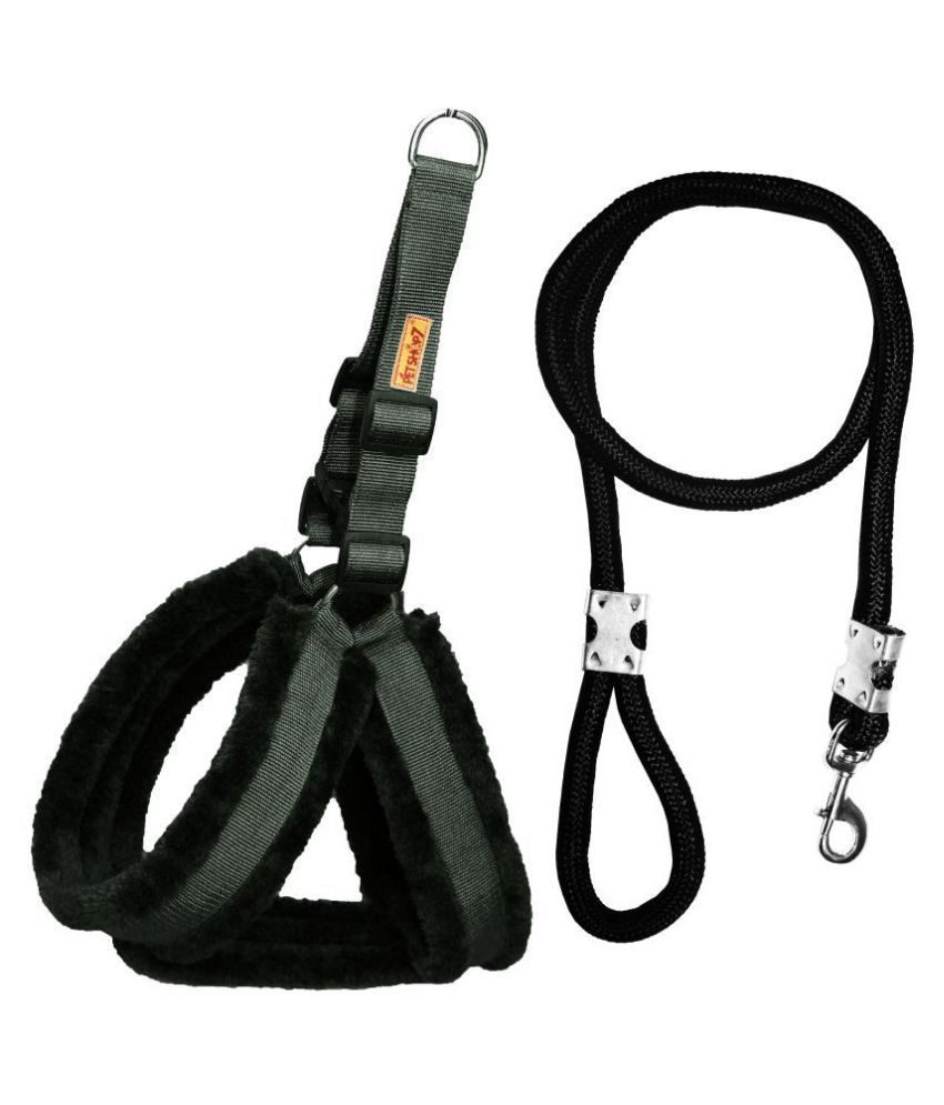 Petshop7 Premium Qualtiy Fur Padded  Nylon Dog Harness &  Leash Rope  0.75 inch - Medium (Chest Size - 23-28inch)
