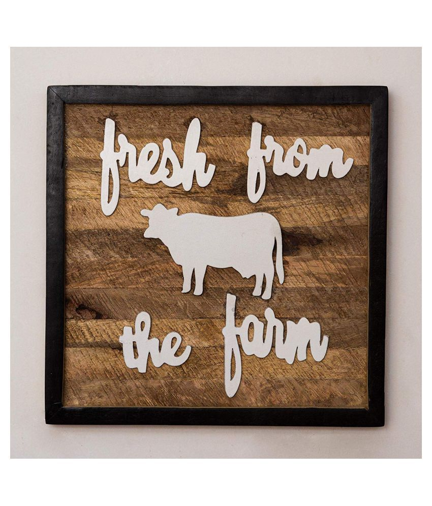 Casa Decor Wood Farm Fresh Typography Wall Home Decor Wall Sculpture Multi - Pack of 1