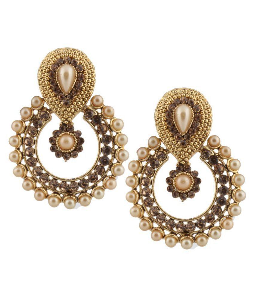 Piah Fashion Antique Gold Finish Ravishing Design Pearl Dangle Earrings