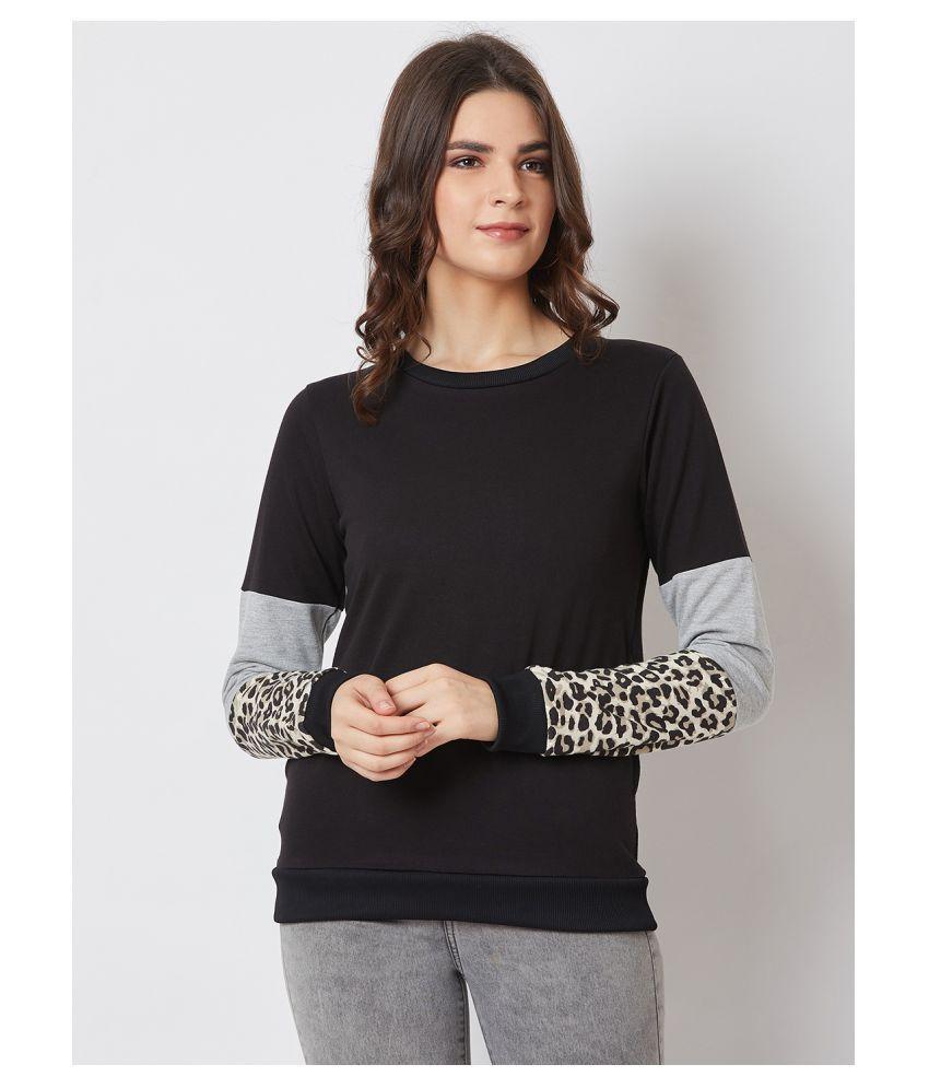 Nun Poly Cotton Black Non Zippered Sweatshirt