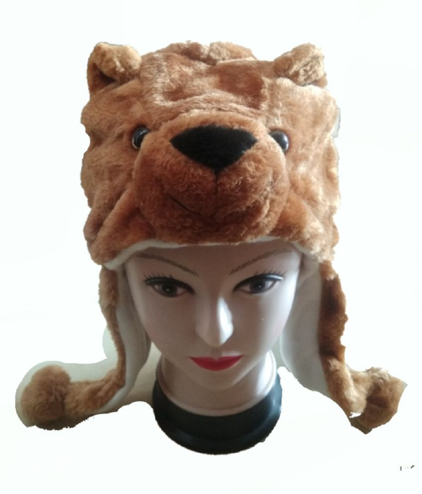 bear cap soft Fur Plush Stuffed Cute Bear Animal Costume Cap with Toy Hood for Boys and Girls (Brown mix , Free Size) for kids bhagwati store