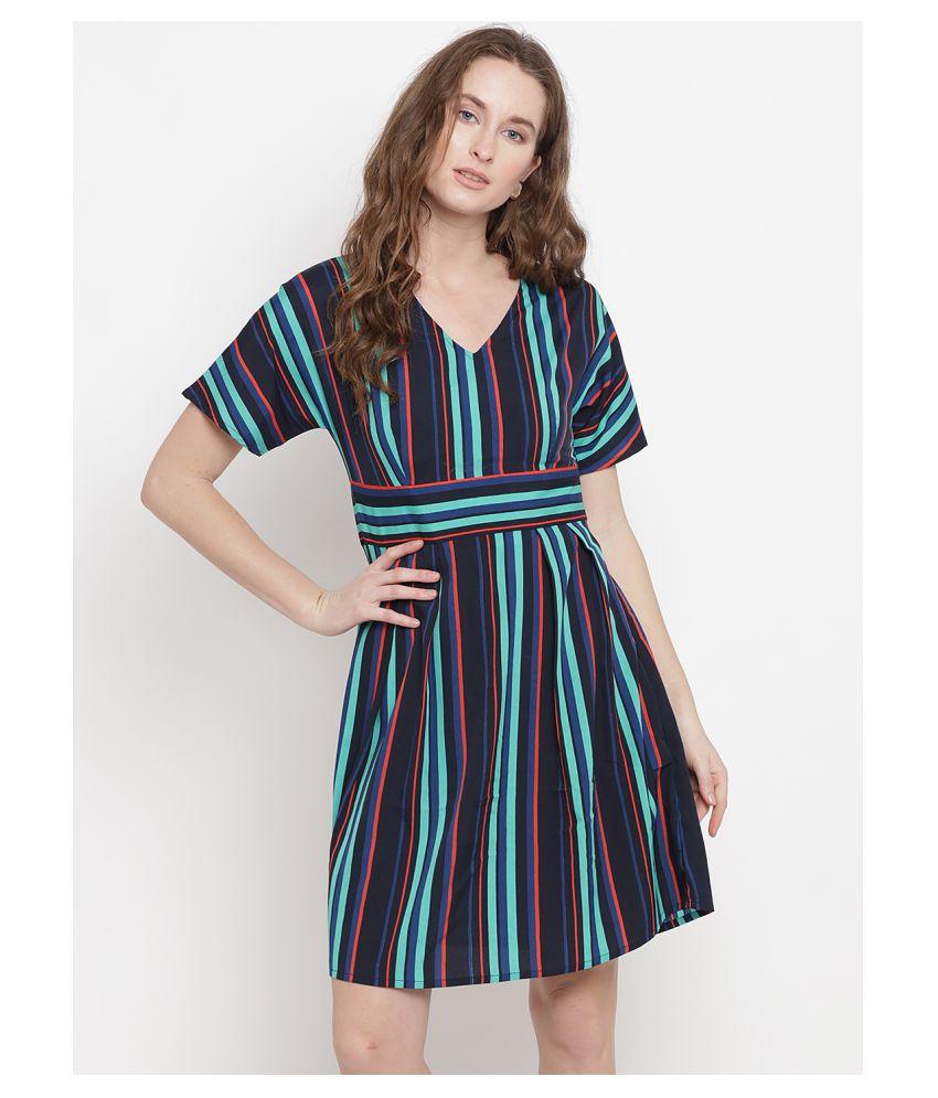 Abiti Bella Crepe Blue A- line Dress