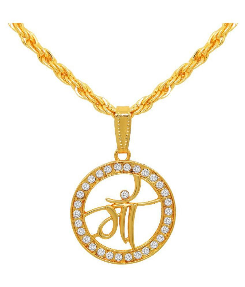 Fresh Vibes Gold Plated Maa Pendant Twisted Design Neck Chain for Mens - Stylish & Fancy Golden Religious Mother Necklace for Men & Boys