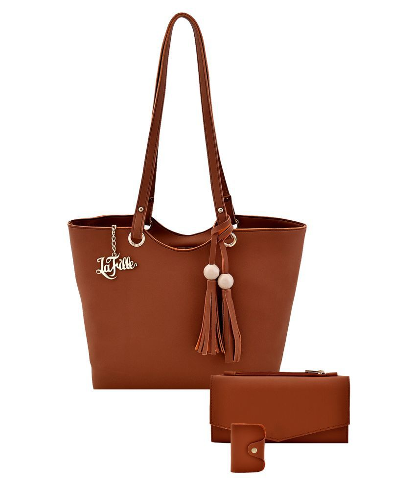LaFille Tan Faux Leather Handheld