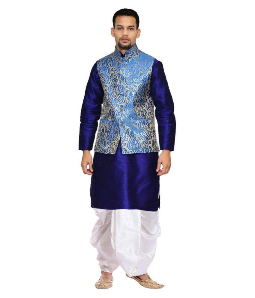 AMG Blue Silk Dhoti Kurta Set Pack of 1