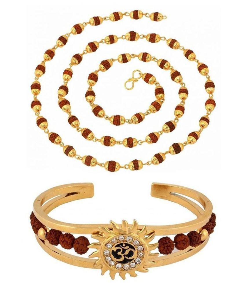 Rudraksh Gold Om Sun Hand Cuff Rudraksh Mala