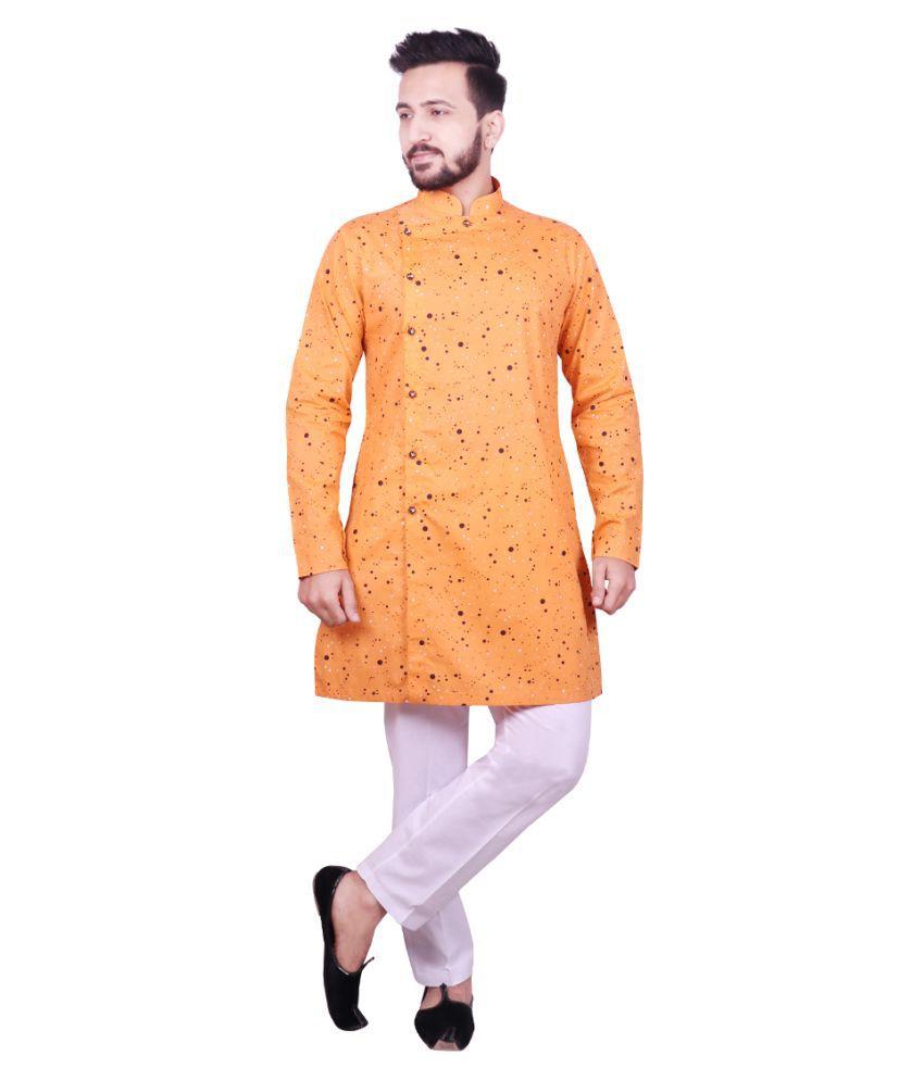 SG LEMAN Orange Cotton Kurta Pyjama Set