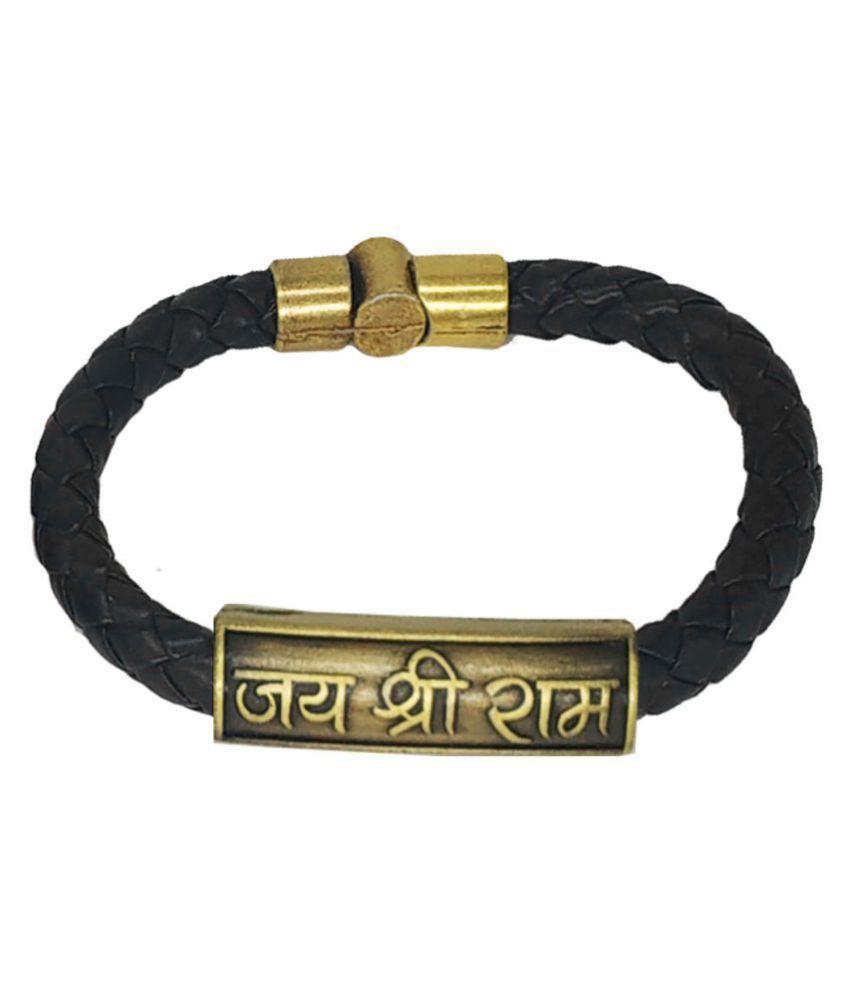 Shiv Jagdamba Jai Shree Ram Charm ID Black Gold Leather Stainless Steel  Bracelet