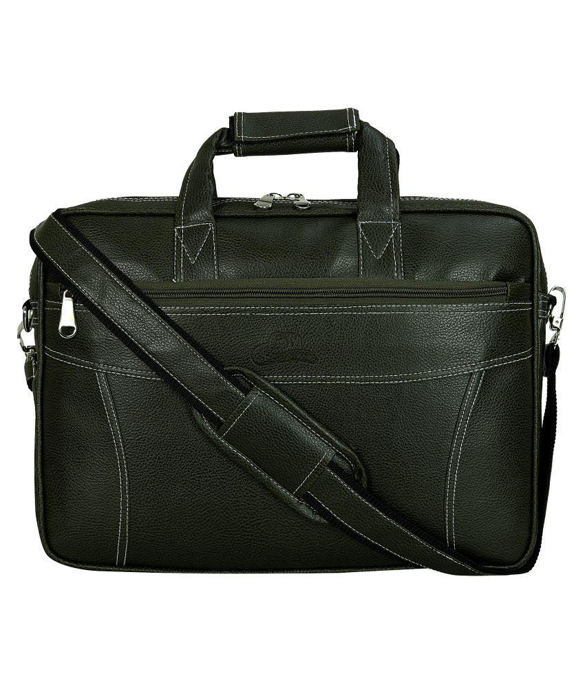 Leather Gifts Laptop Office Bag Green P.U. Portfolio