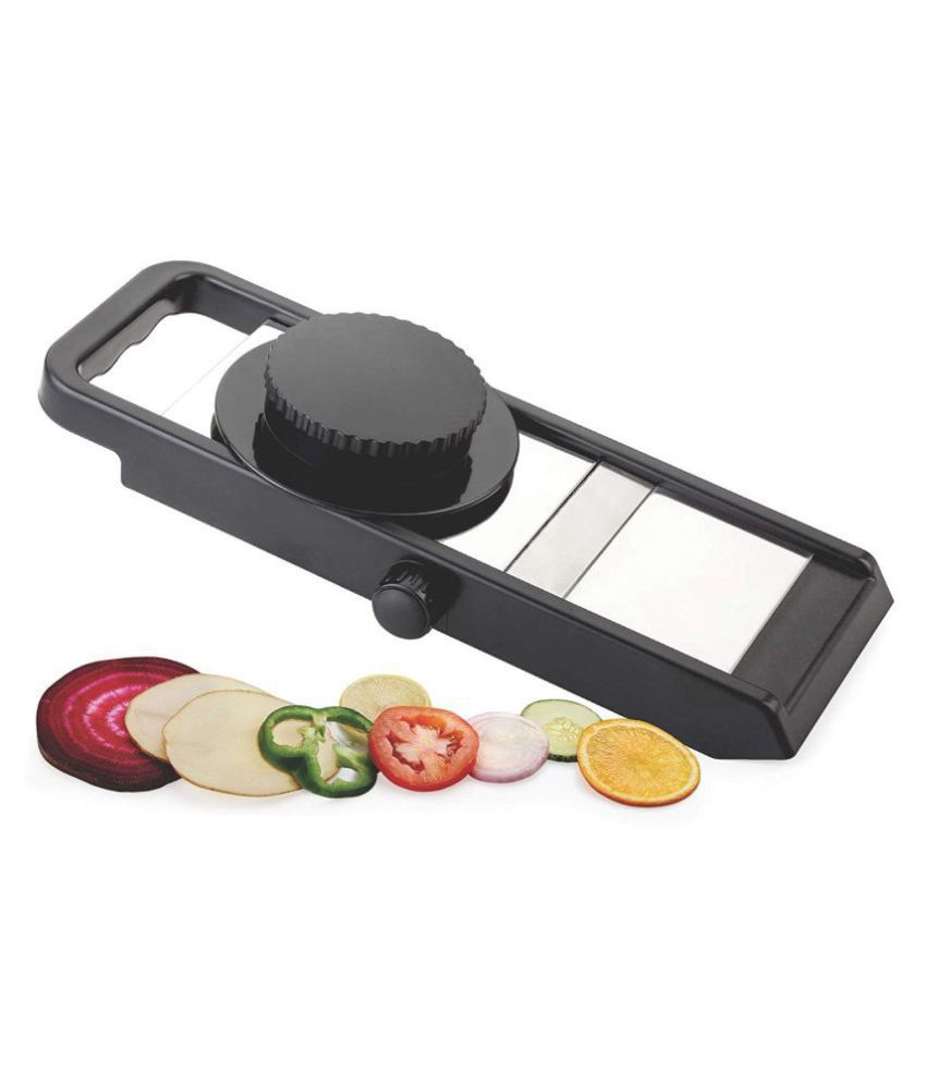 Mahi Sales Potato Slicer for Chips Vegetable & Fruit Cutter Slicer, Black/Silver