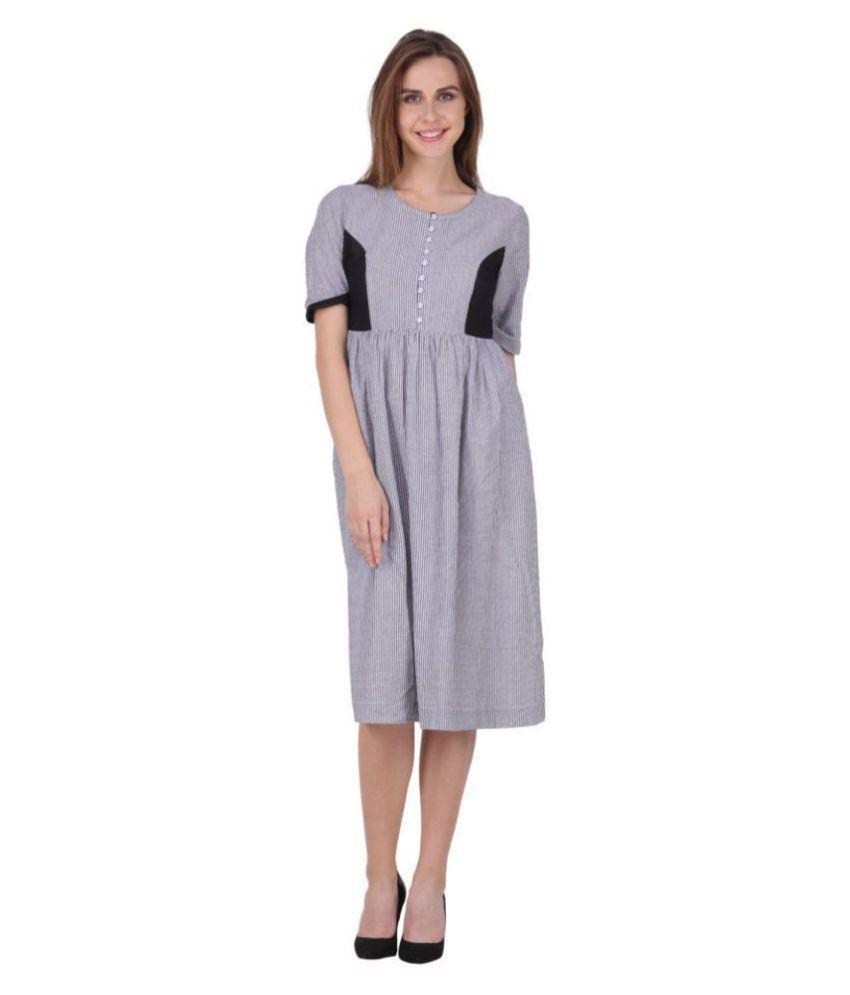 MissGudi Cotton Grey Regular Dress