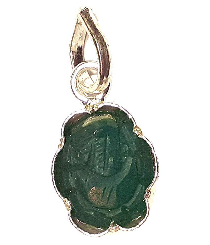 PANDIT NM SHRIMALI Pure Silver Panna Ganesh Pendant/Silver Emerald Ganesh Locket for Women & Men and Kids