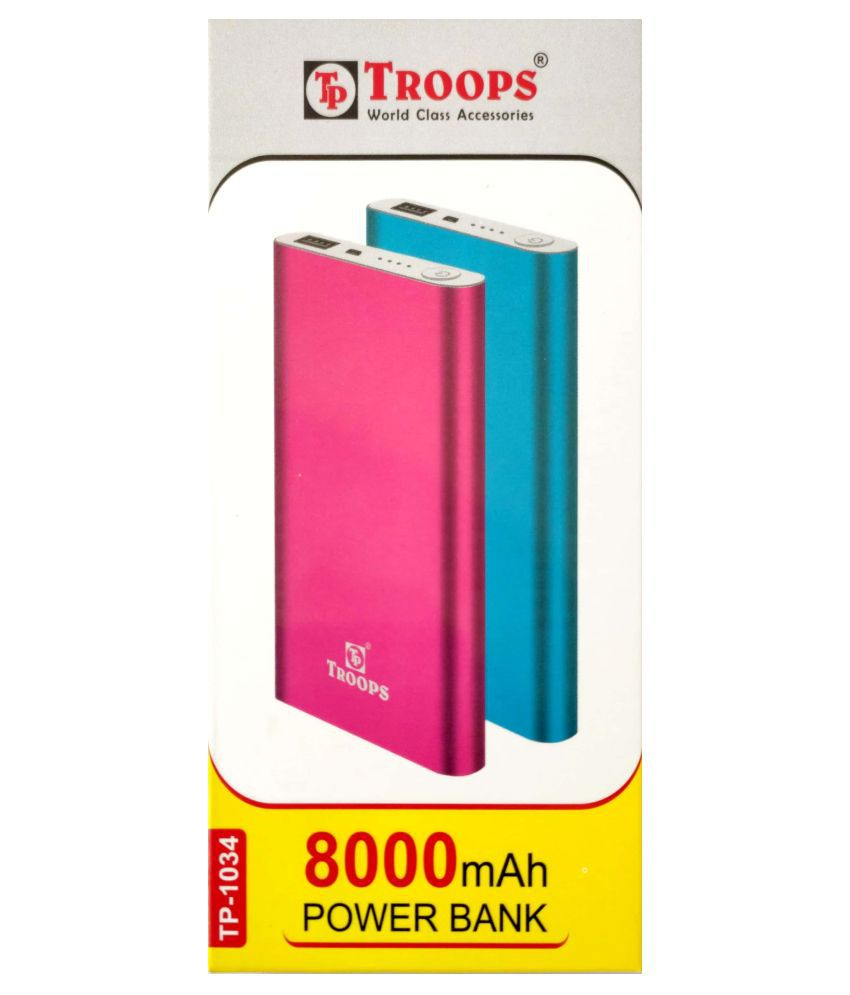 Troops 8000  mAh Li Polymer Power Bank Pink