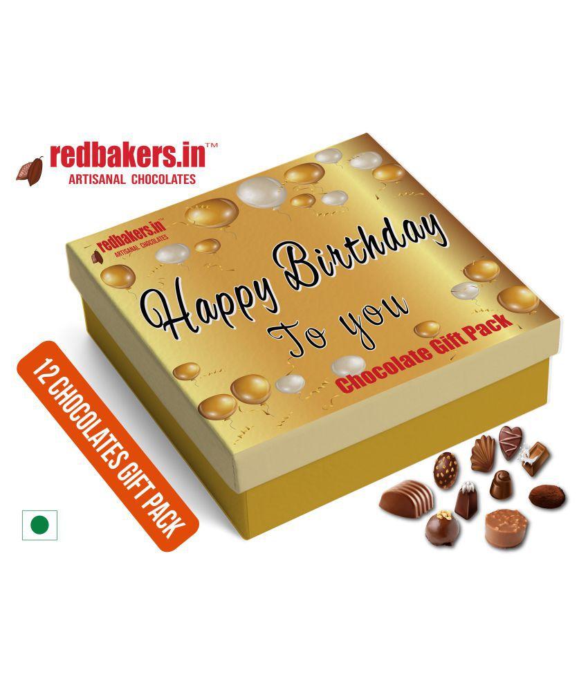 redbakers.in Chocolate Box Happy Birthday English 12Chocolates Pack 180 gm