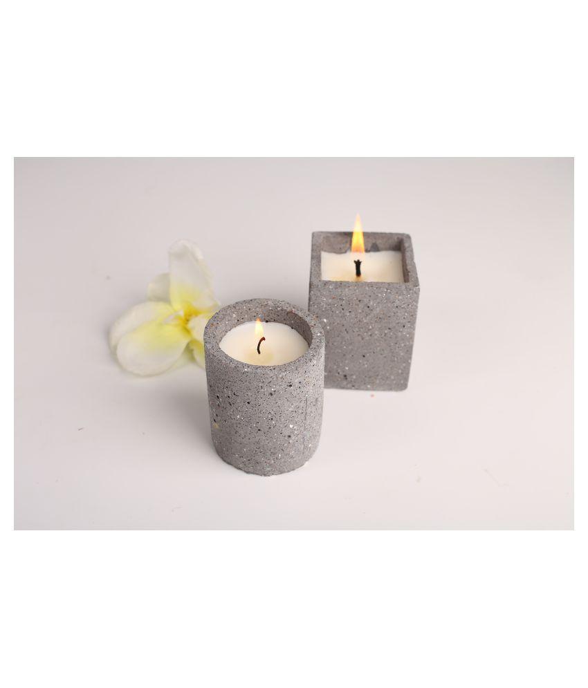 Joyous Beam Grey Pillar Candle - Pack of 2