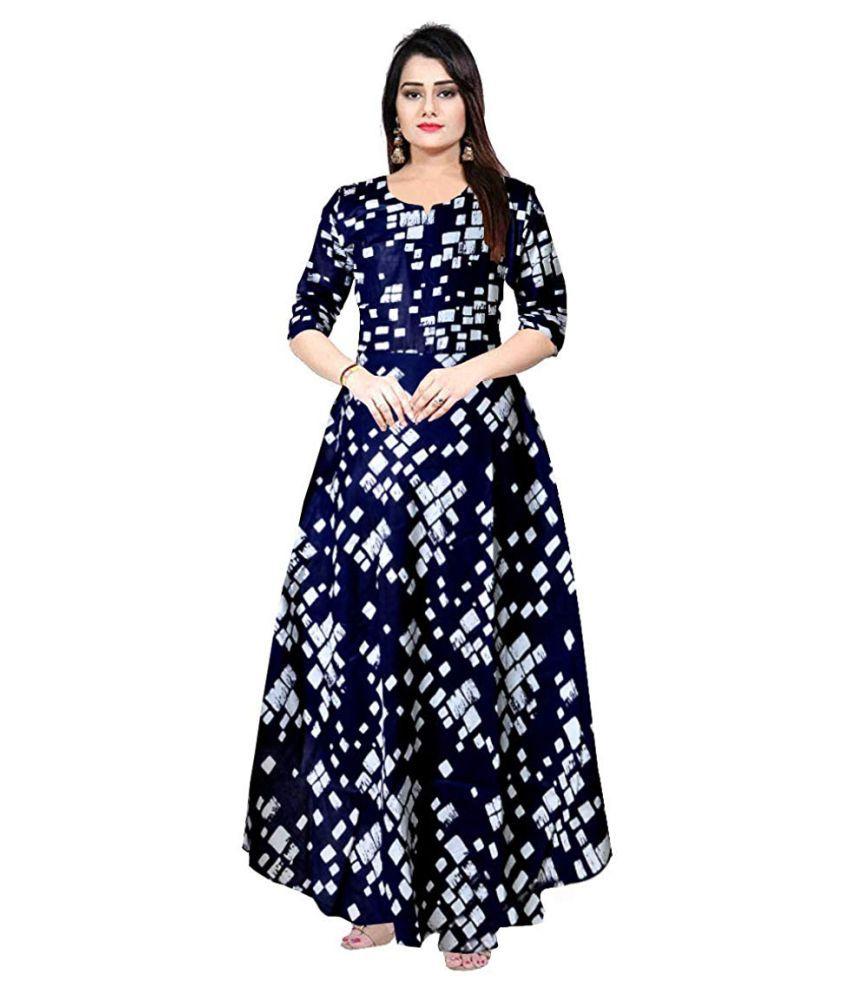 Urbanera Rayon Blue A- line Dress