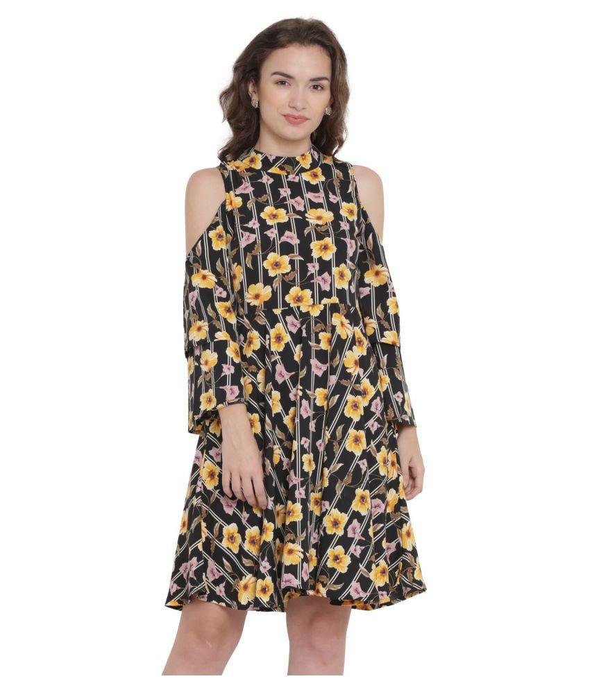Abiti Bella Crepe Black Fit And Flare Dress