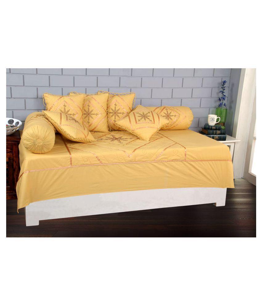 Rahul home furnishing Cotton Beige Embroidery Diwan Set 8 Pcs