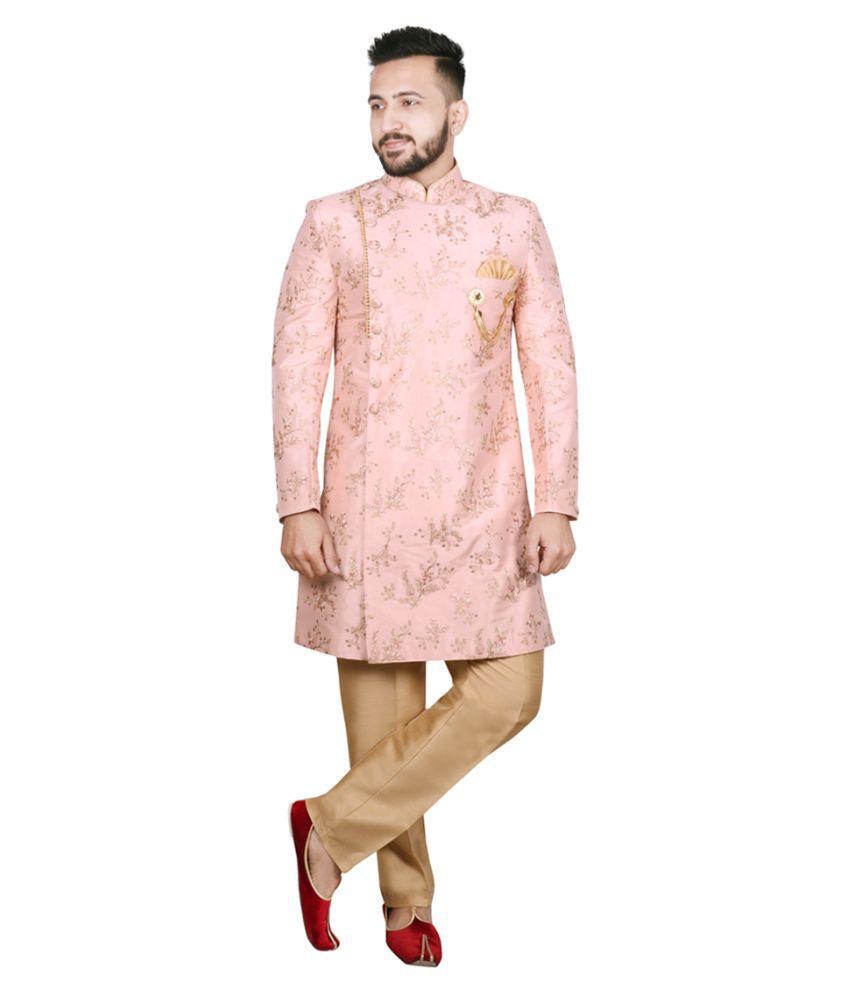 SG RAJASAHAB Peach Silk Blend Sherwani