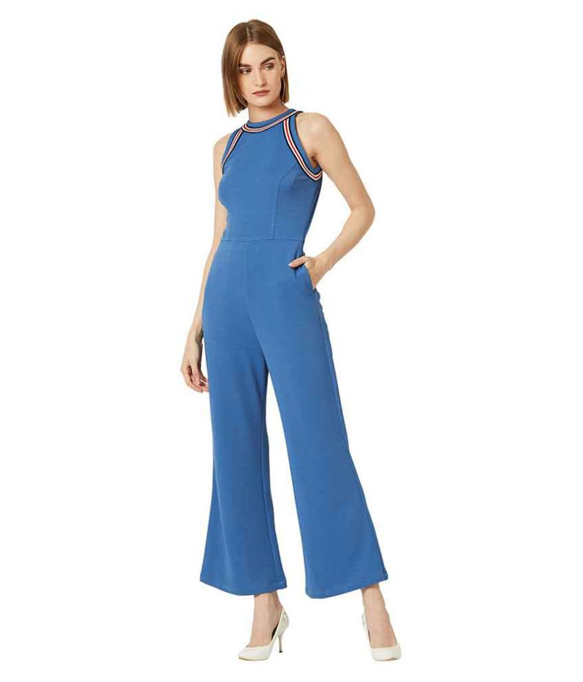 Miss Chase Blue Polyester Jumpsuit