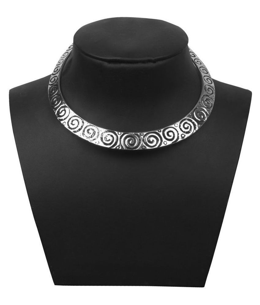 Piah Brass Silver Collar Traditional Silver Plated Necklace
