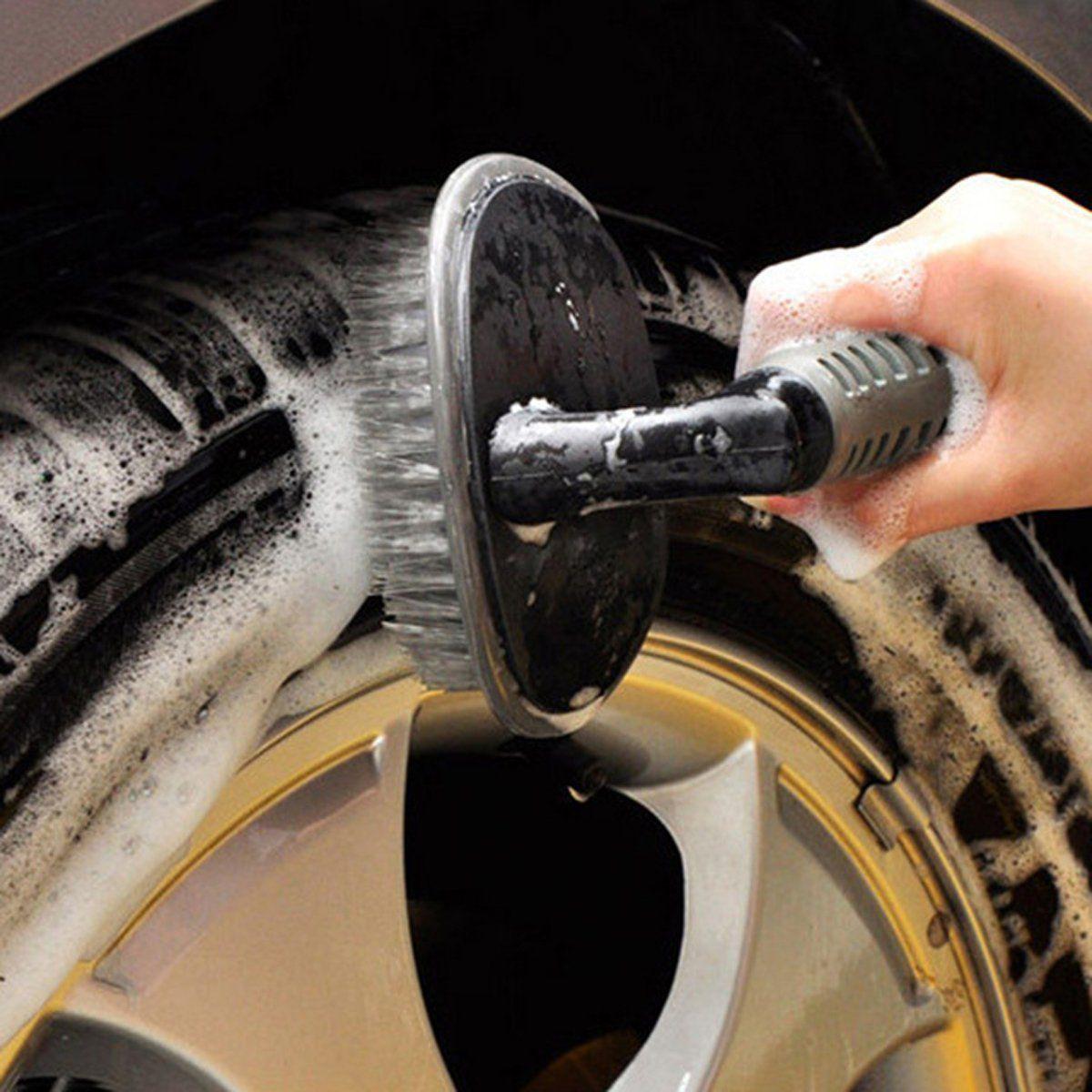 TakeCare Tire Rim Scrub Brush Hub Clean Wash Useful Brush Car Truck Motorcycle Bike Washing Cleaning Tool Accessories