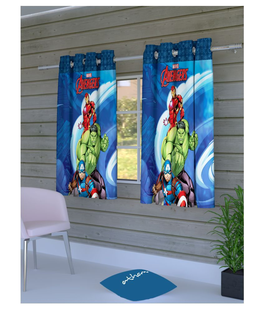 Marvel Set of 2 Window Eyelet Polyester Curtains Blue