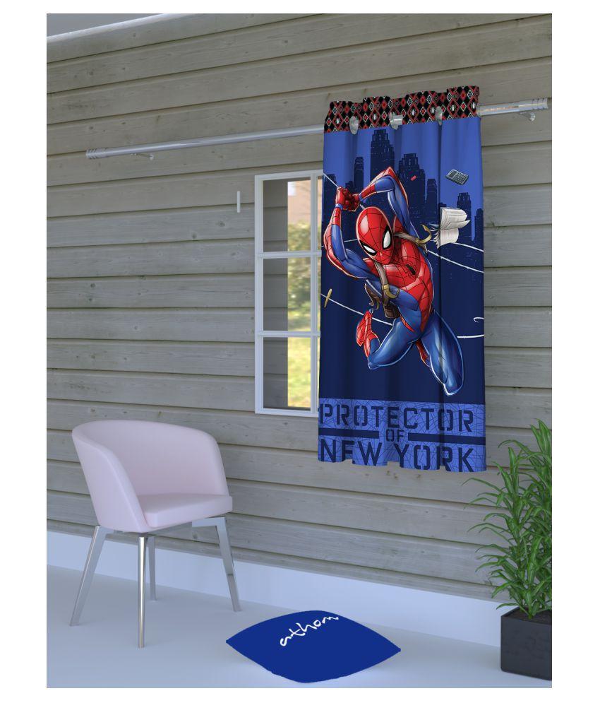Marvel Single Window Eyelet Polyester Curtains Blue