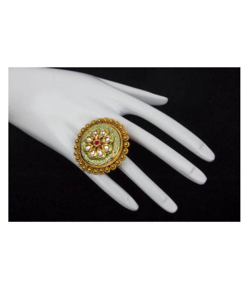 Piah Fashion Traditional Bewitching Designer Gold Plated Free Size Finger Ring For Woman