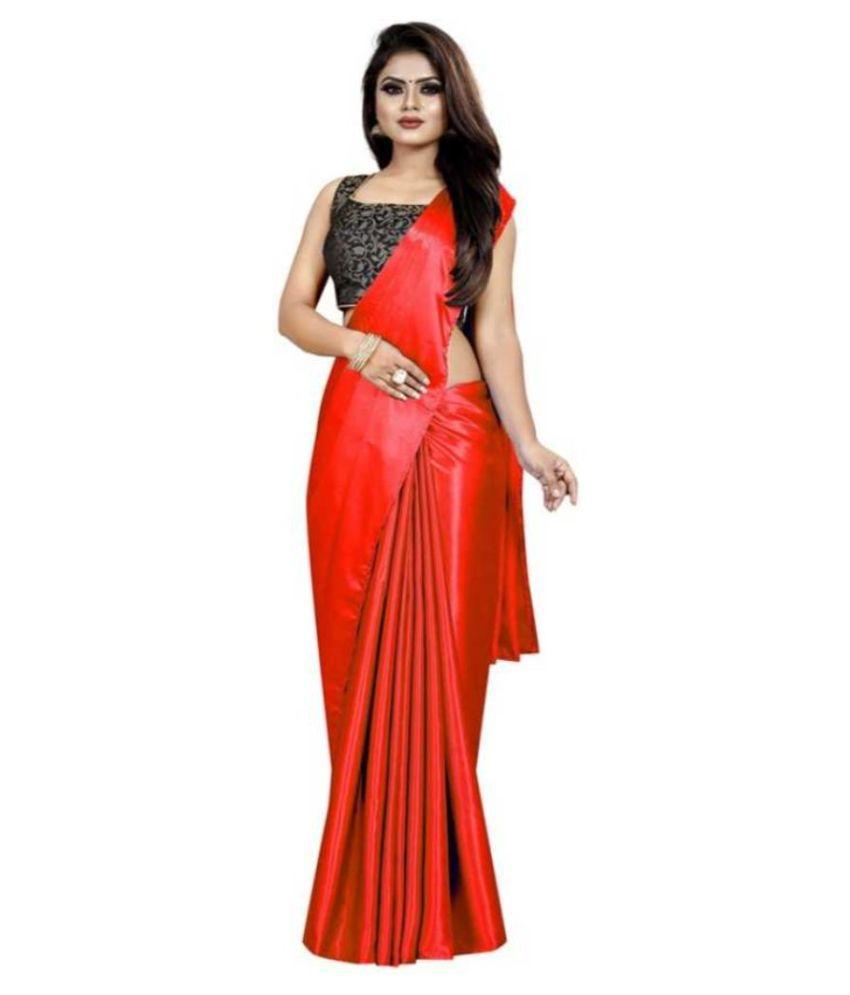 Mahek Fashion Orange Satin Saree