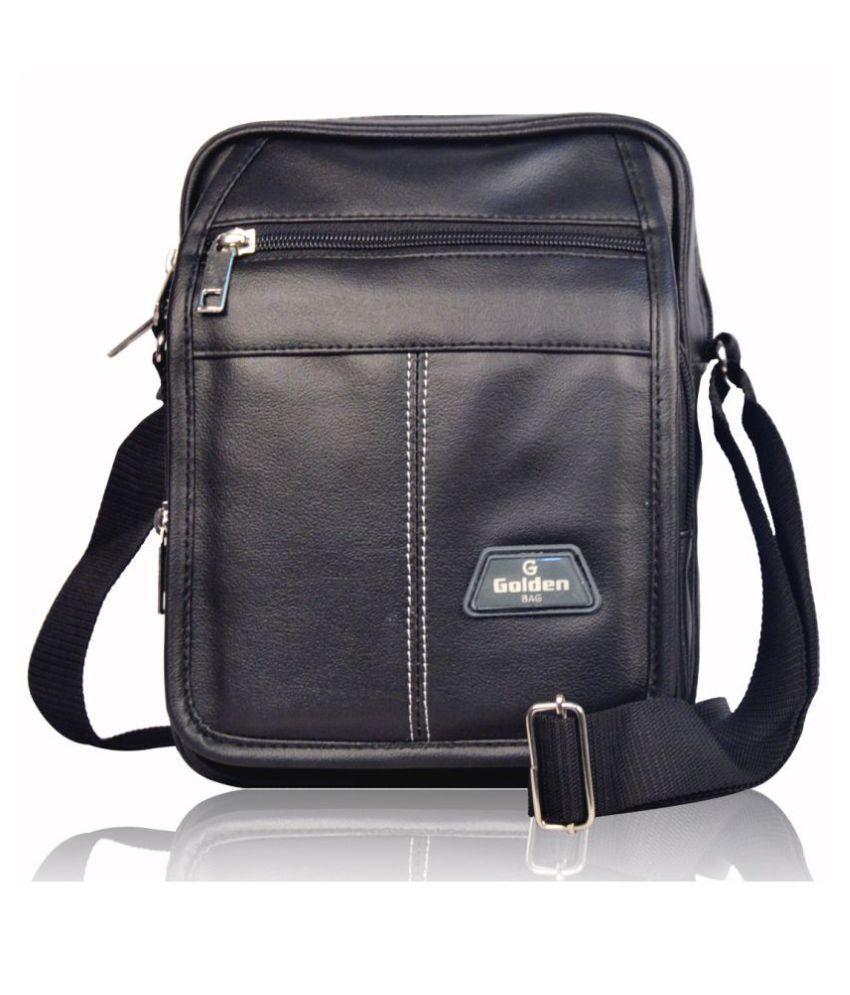 Roy variety's RV_MENSB001 Black Leather Casual Messenger Bag
