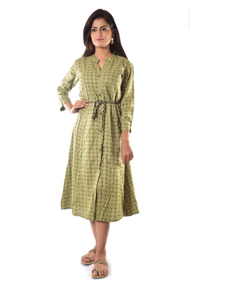 signoria fashions Green Rayon Straight Kurti