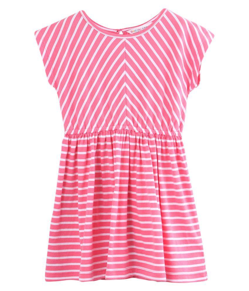 Jersey Stripe Dress Pink 3Y