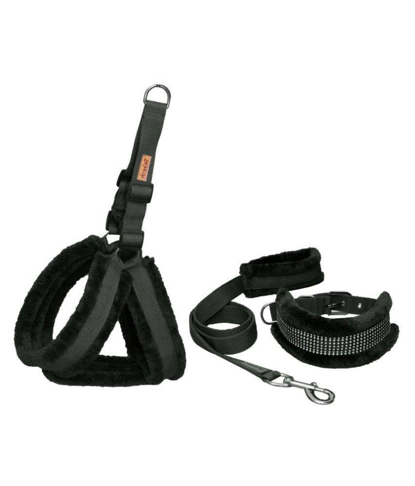 Petshop7 Nylon Dog Harness , Dog Collar & Leash Set with Fur XL (Chest Size - 30 - 38inch)