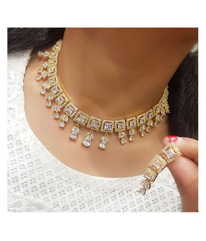 Navya Collections Alloy Golden Contemporary Designer 18kt Gold Plated Necklaces Set