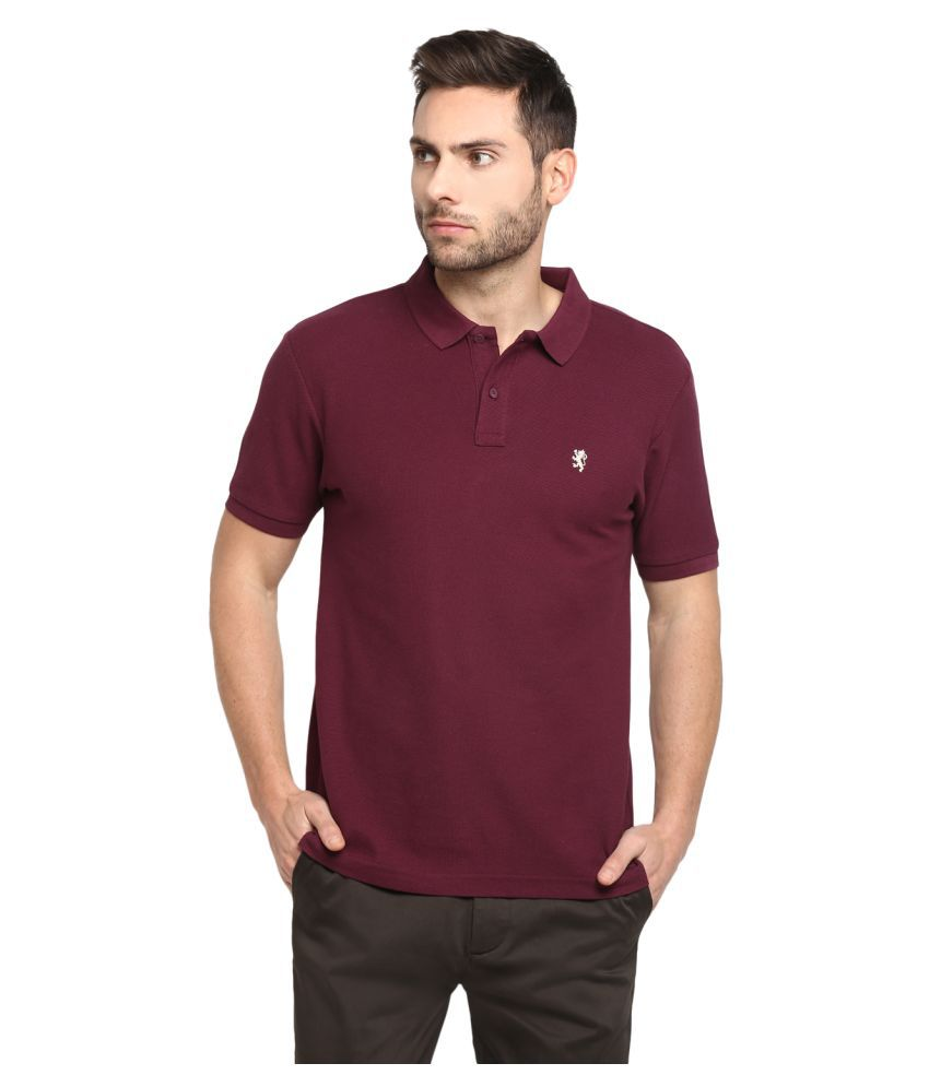 Red Tape 100 Percent Cotton Maroon Plain Polo T Shirt