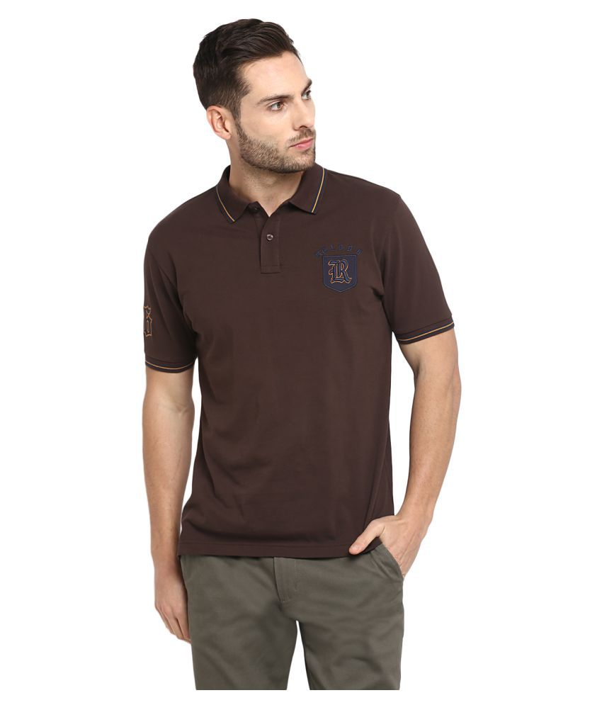 Red Tape 100 Percent Cotton Brown Plain Polo T Shirt